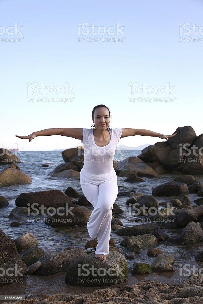 Yoga at the Beach royalty-free stock photo