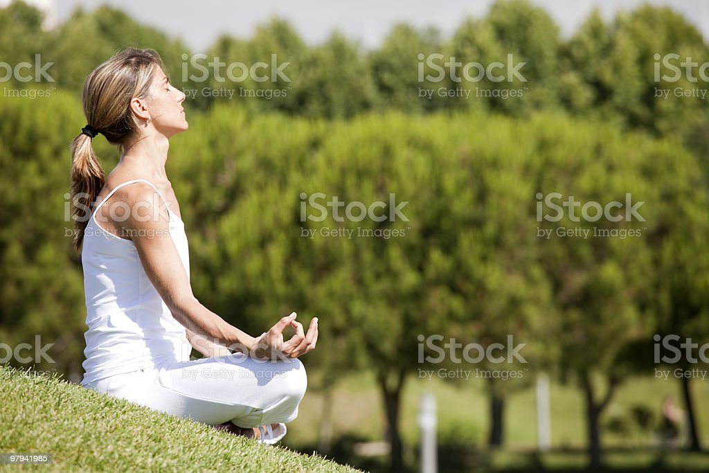 Yoga at the nature royalty-free stock photo