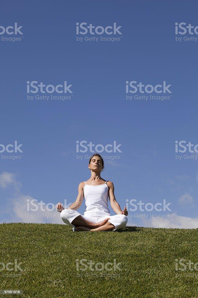 Yoga at the nature royalty-free stock photo