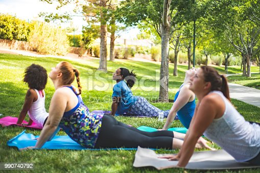 A group of women doing a yoga lesson at the park.