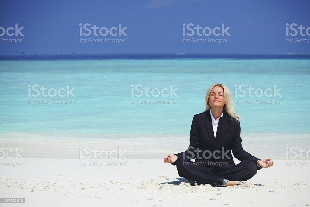 yoga business woman royalty-free stock photo