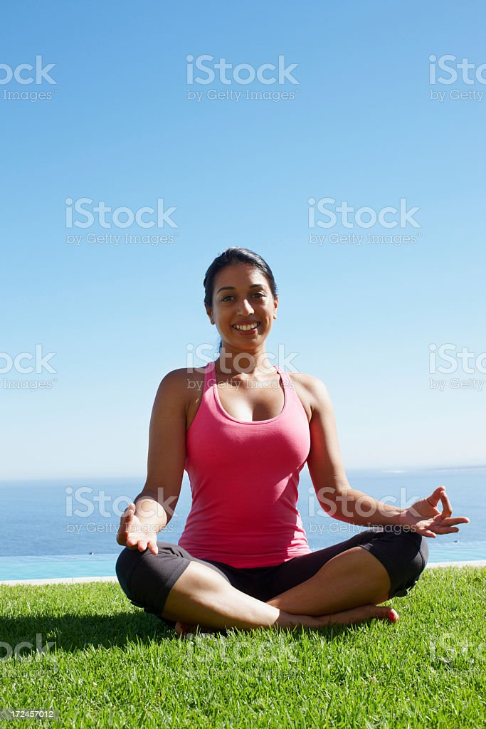 Yoga centres her royalty-free stock photo