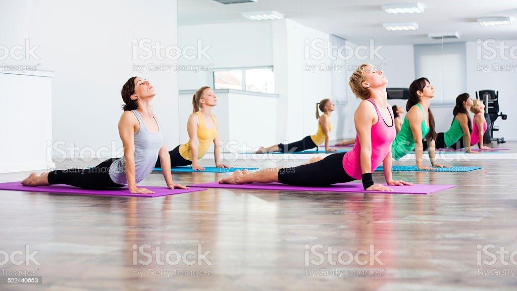 Yoga class - Bhujangasana/Cobra Pose stock photo