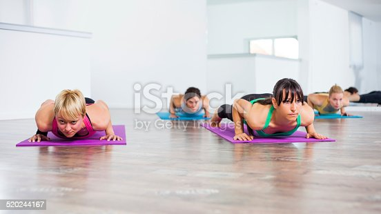 Girls practicing yoga, Yoga Chaturanga Dandasana/Four-Limbed Staff Pose