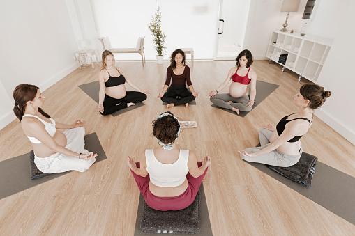 Yoga Class For Pregnant Woman Stock Photo - Download Image ...