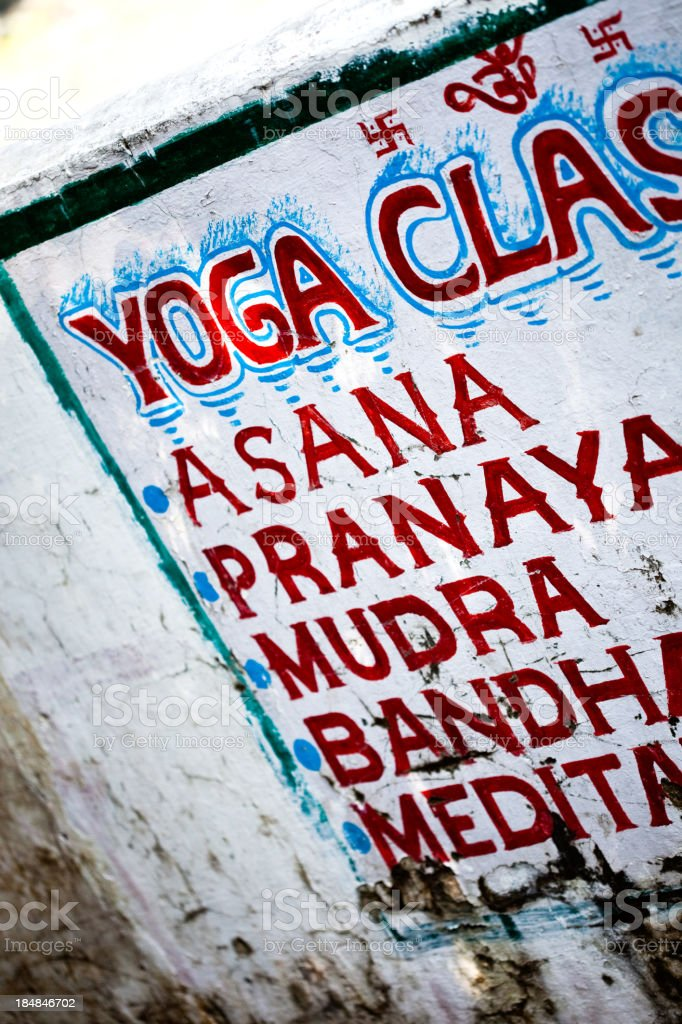 yoga class sign in india stock photo