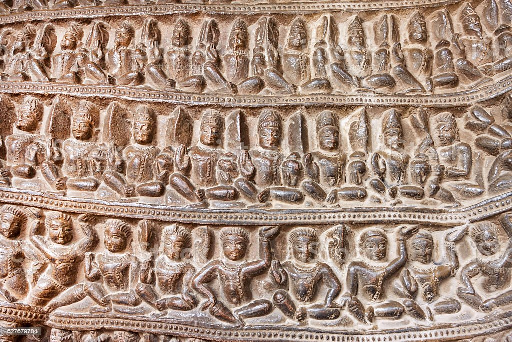 Yoga classes on temple of Khajuraho, built in 950, India stock photo