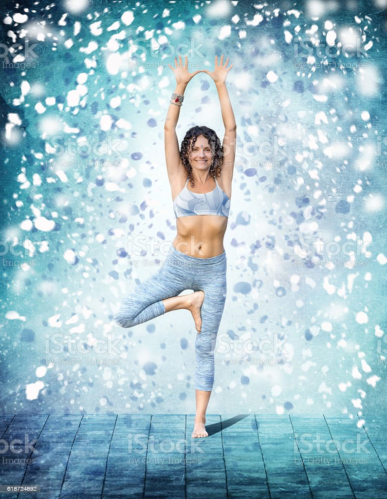 Yoga Concept Woman Posing Exercises Outdoors Snow Royalty Free Stock Photo
