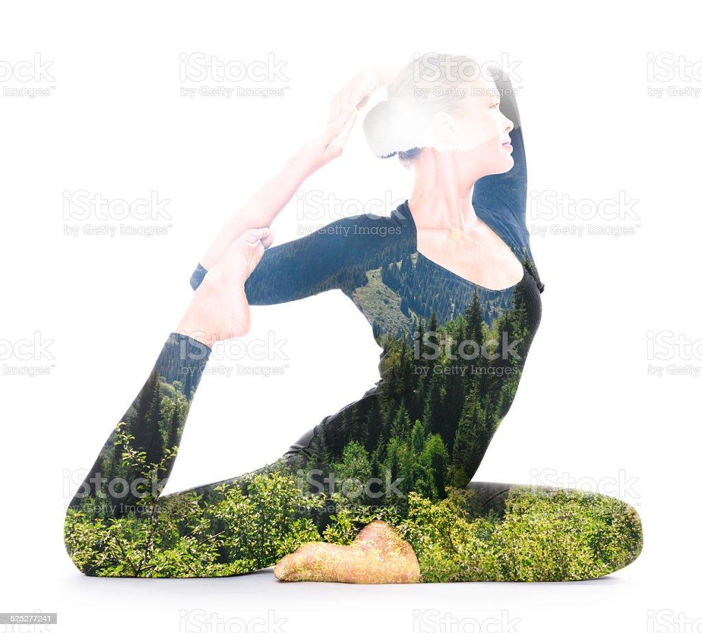 Yoga, double exposure stock photo