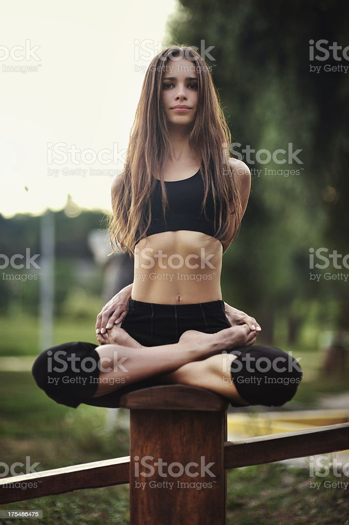 Yoga exercise (park) royalty-free stock photo