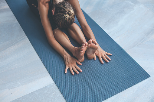 Yoga Exercises At Home Stock Photo - Download Image Now