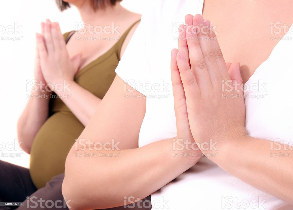 Yoga for two royalty-free stock photo