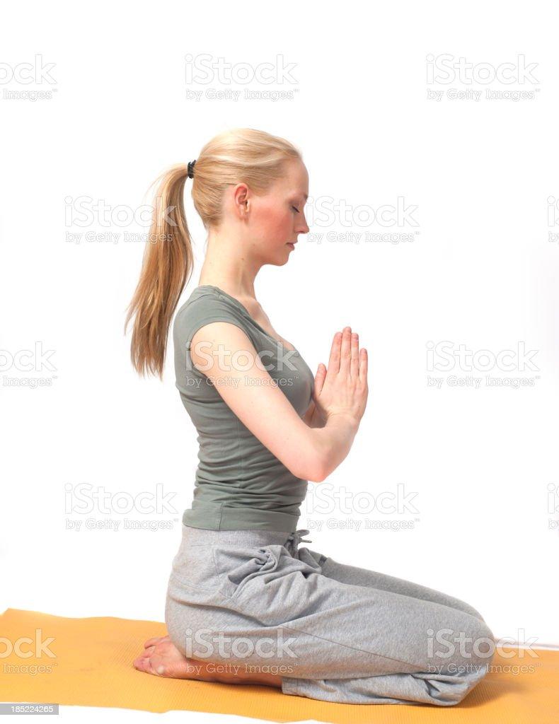 yoga girl in tranquill scene praying royalty-free stock photo