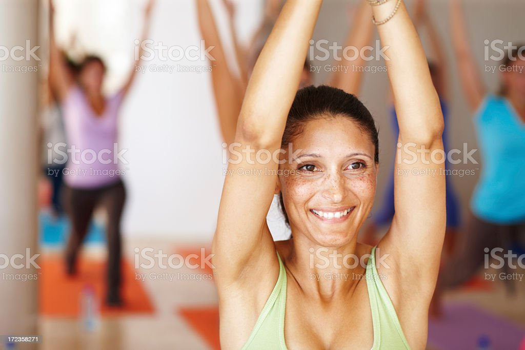 Yoga gives her peace of mind royalty-free stock photo