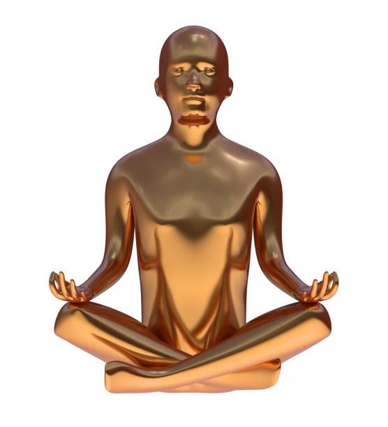 yoga goldenen mann stilisierte figur frieden des geistes lotus pose metallic - achtsamkeit persönlichkeitseigenschaft stock-fotos und bilder
