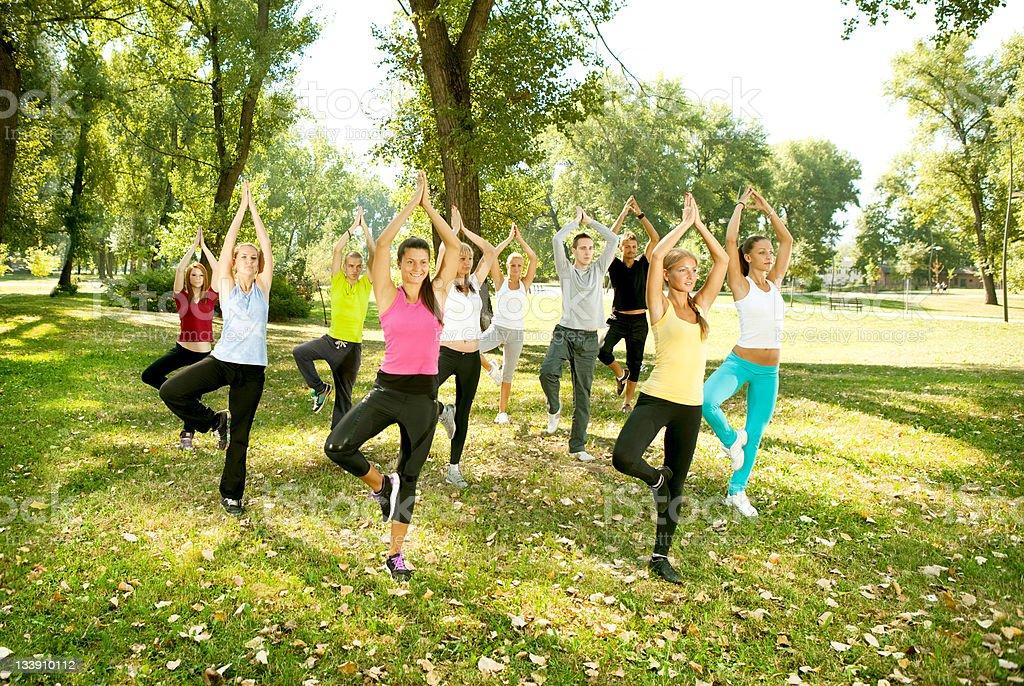 yoga group, tree position, royalty-free stock photo