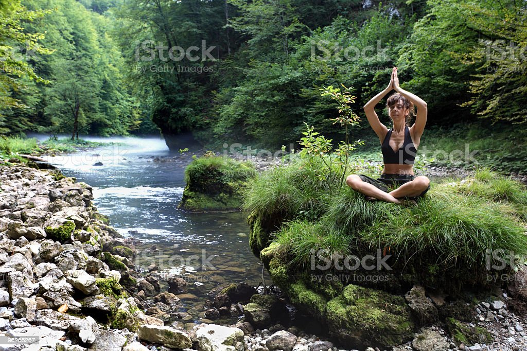 Yoga in forest royalty-free stock photo