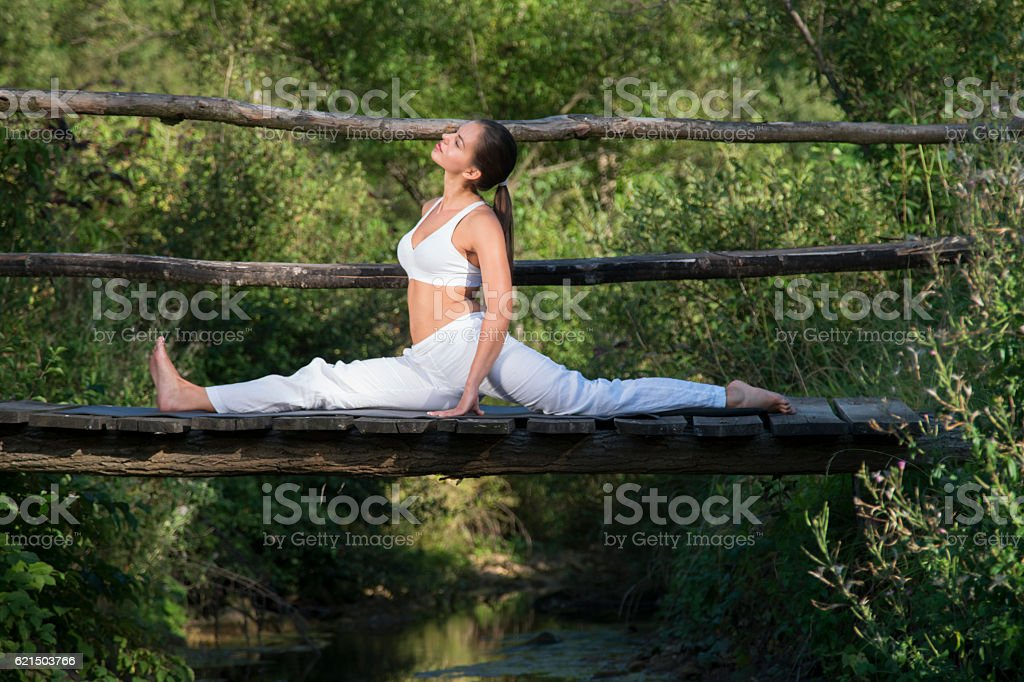Yoga in greenery photo libre de droits