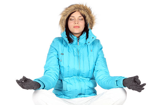 Yoga in snow stock photo