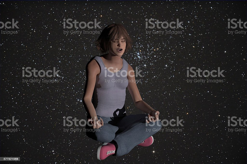 yoga in space stock photo