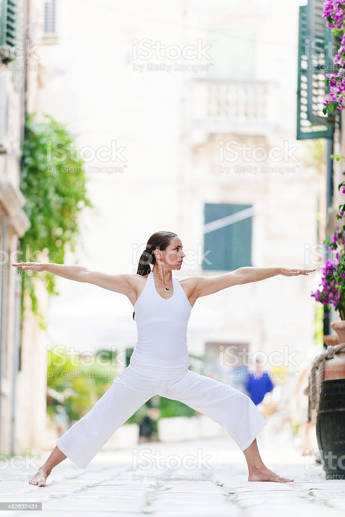 Yoga in the city royalty-free stock photo