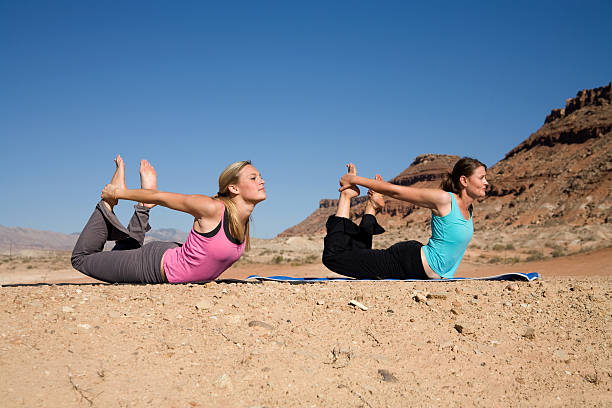 Yoga in the Desert stock photo