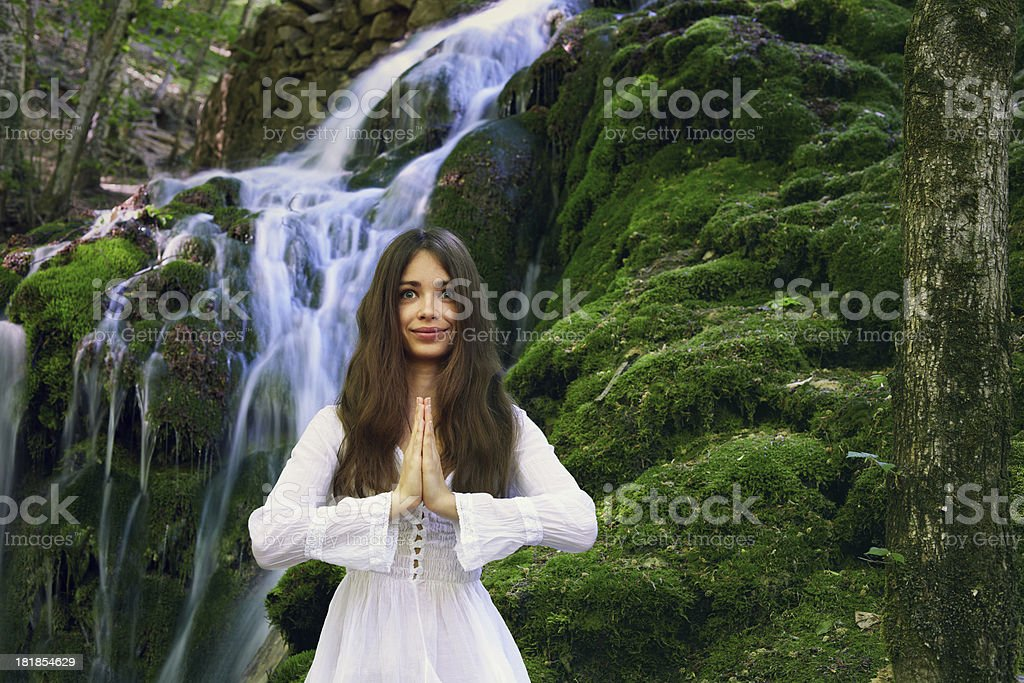 Yoga in the Forest royalty-free stock photo