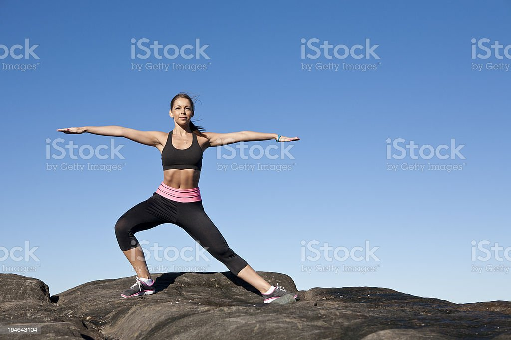 Yoga in the morning sunshine royalty-free stock photo