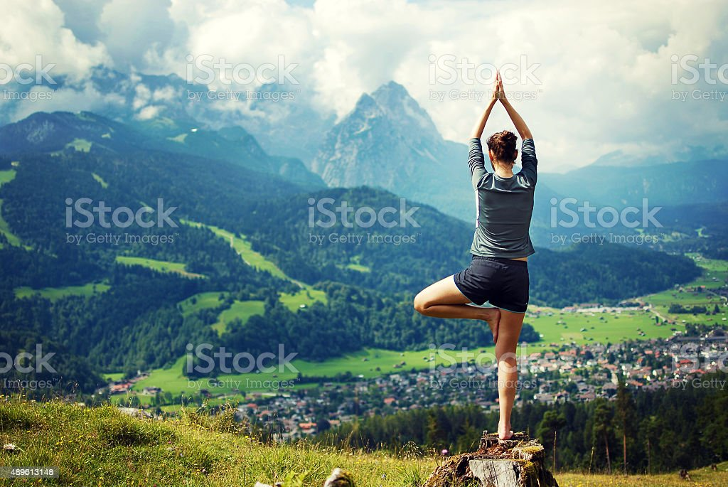 Yoga in the nature stock photo