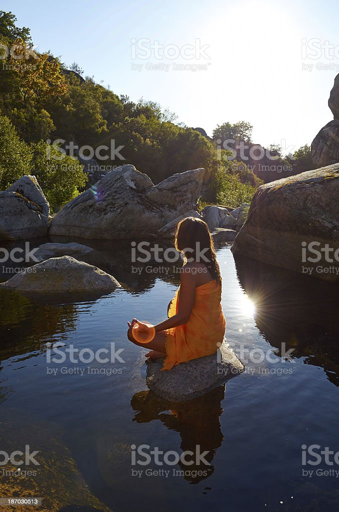 Yoga in the river. royalty-free stock photo