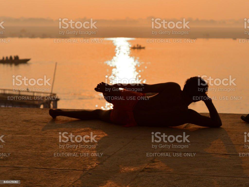 Yoga in Varanasi stock photo