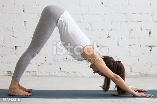 istock Yoga Indoors: Downward Facing Dog Pose 532343318