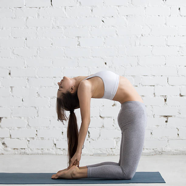 yoga im innenbereich : ustrasana pose - yin yoga stock-fotos und bilder