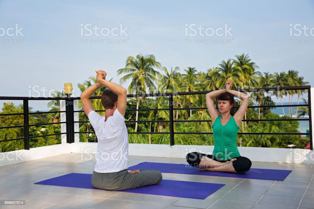 Yoga instructor conducts classes royalty-free stock photo