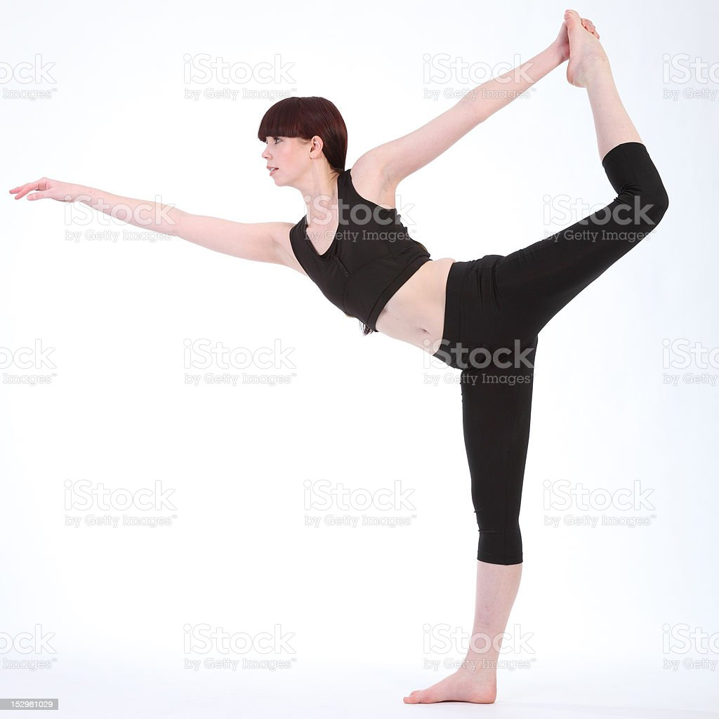 Yoga King Dancer Pose by beautiful fitness woman royalty-free stock photo