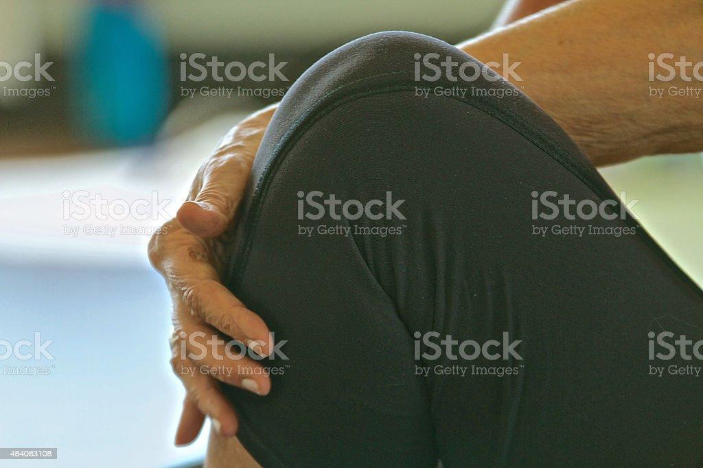 Yoga, Knee. bending stock photo