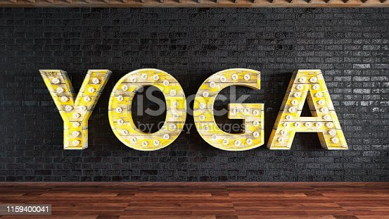 Yoga Studio with Light Bulb Sign. 3d Render