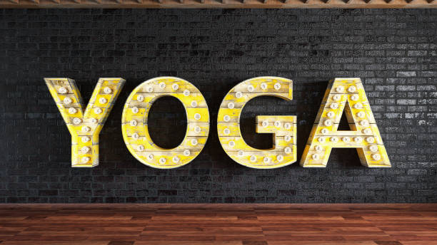 Yoga Light Bulb Sign Yoga Studio with Light Bulb Sign. 3d Render yoga class stock pictures, royalty-free photos & images