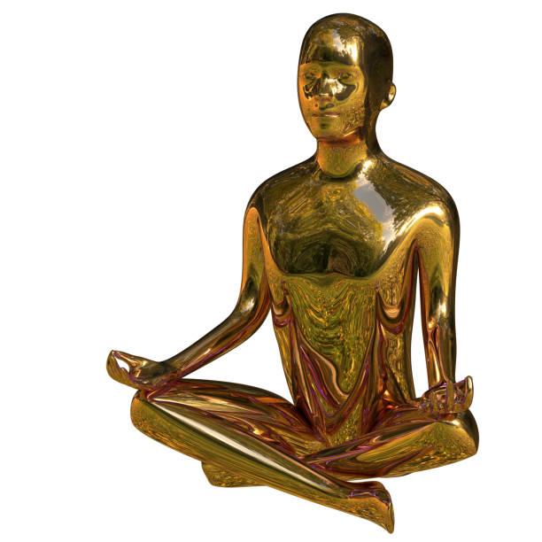 yoga mann stilisierte figur ruhe des geistes lotus pose goldenen zen-wie - achtsamkeit persönlichkeitseigenschaft stock-fotos und bilder