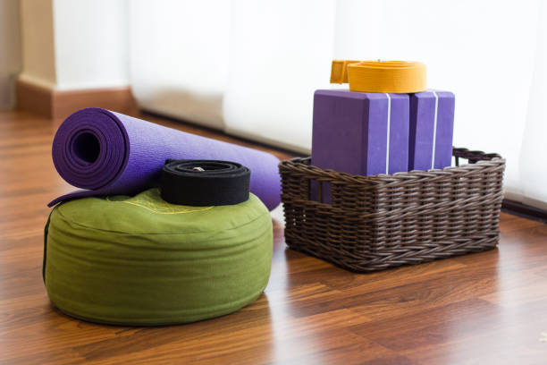 Yoga mat, blocks props stock photo