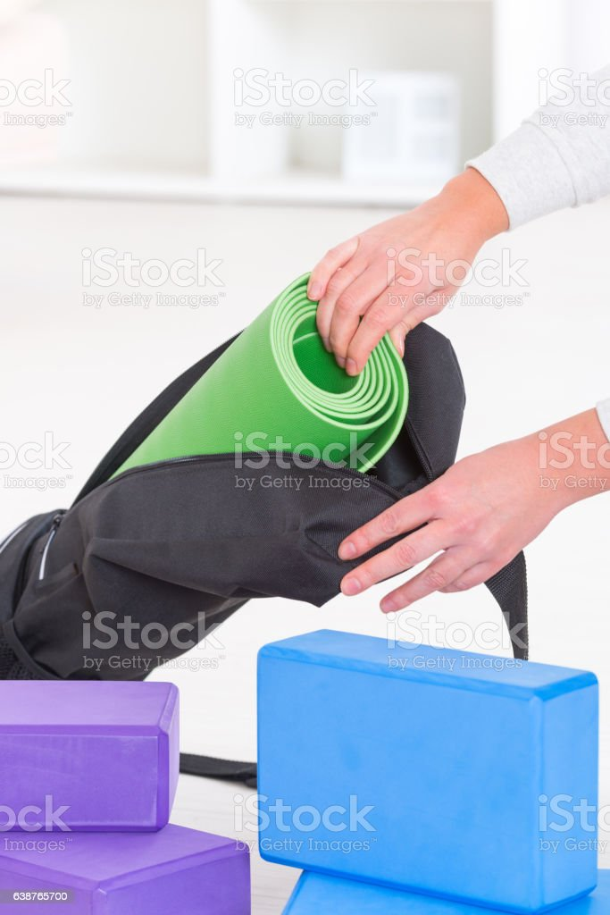 Yoga mat inside a special yoga bag stock photo