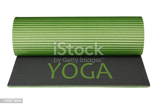 istock Yoga mat isolated on white background as package design element 1059579094
