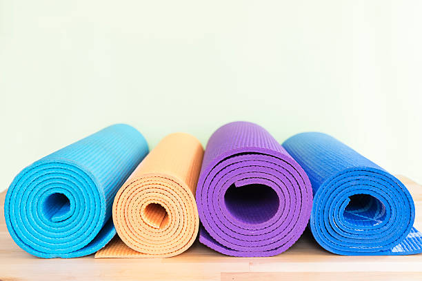 yoga mats on the table stock photo