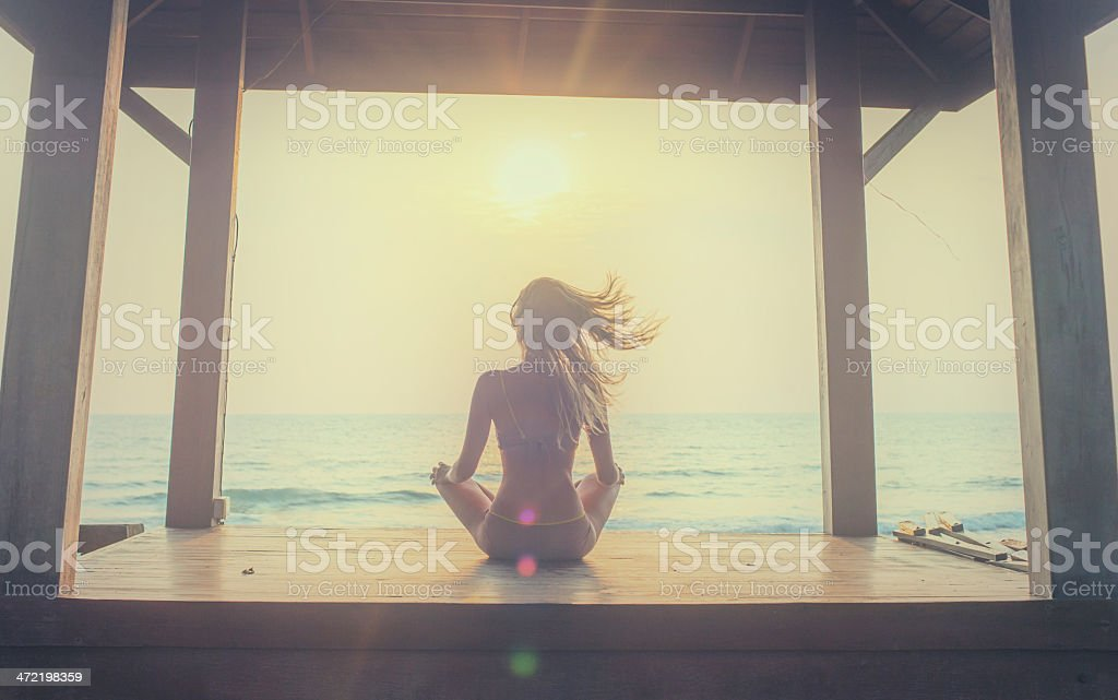 Yoga Meditation At Sunset Stock Photo - Download Image Now - iStock