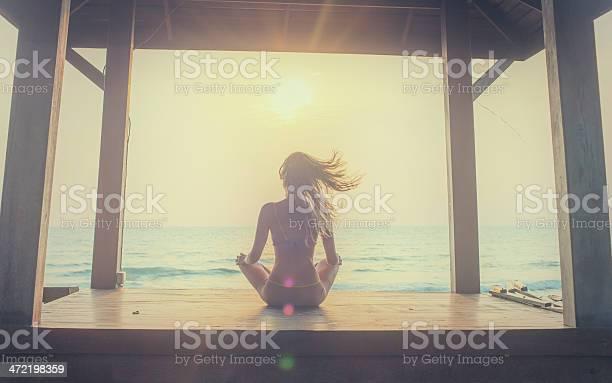 Yoga Meditation At Sunset Stock Photo - Download Image Now