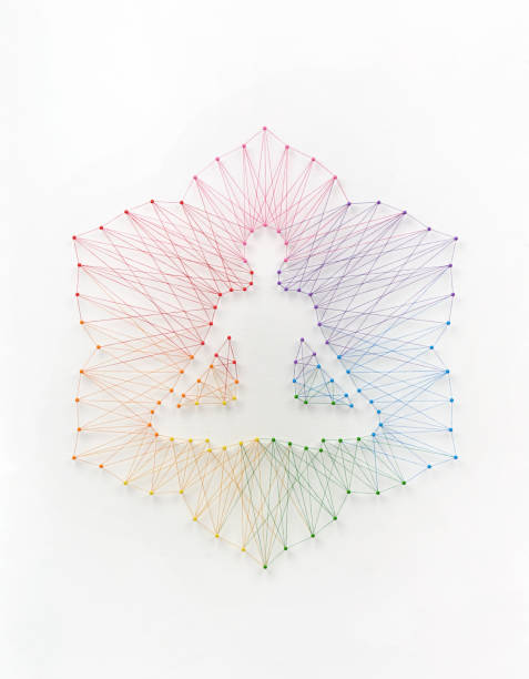 Yoga meditation concept Network of pins and threads forming yoga lotus pose symbolising connection to inner self. yogi stock pictures, royalty-free photos & images