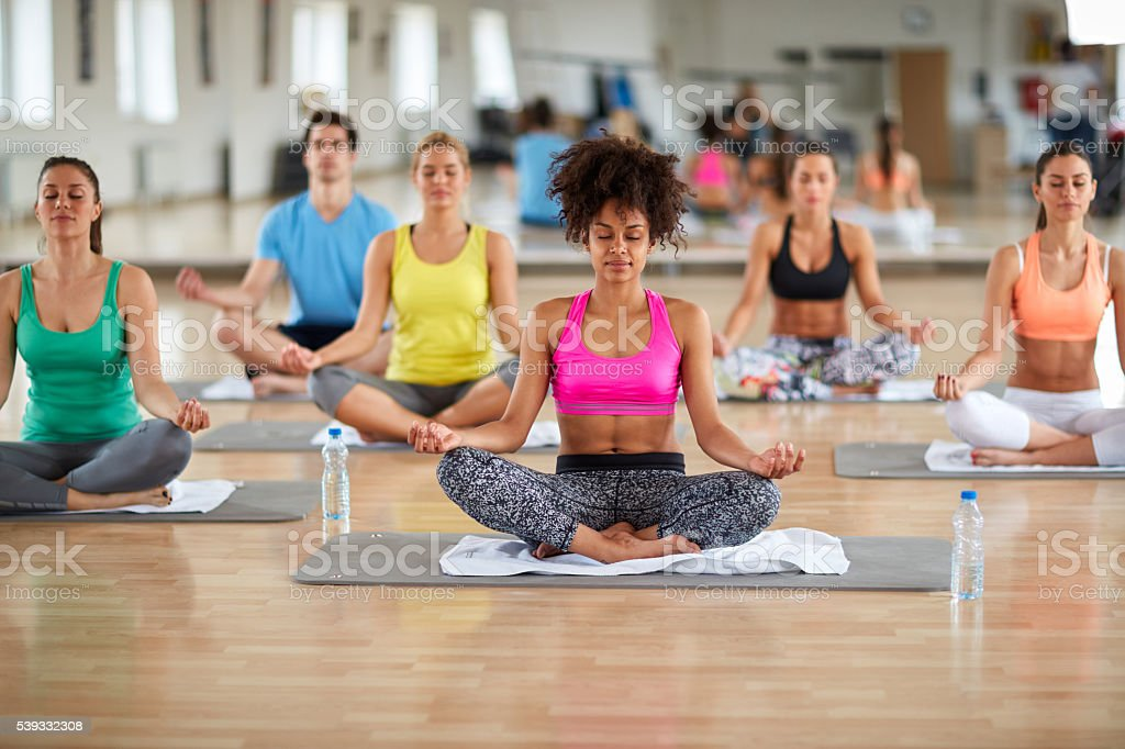 Yoga meditation group stock photo