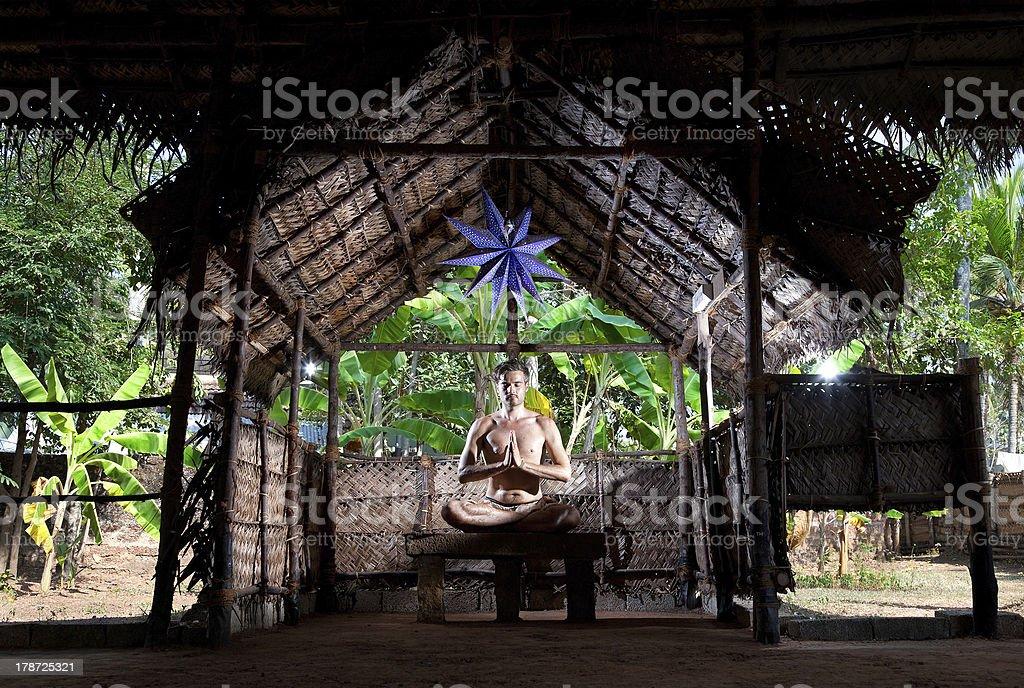 Yoga meditation in lotus stock photo