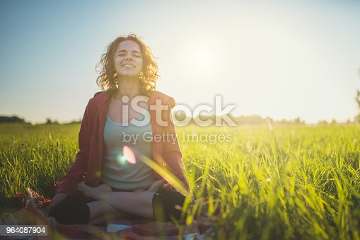 Yoga Meditation Outdoors in Lotus Position