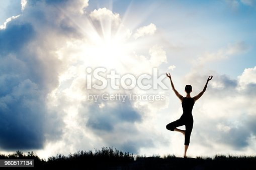 Yoga Meditation, Woman Stand with Raised Up Arms in Nature, Human Meditating over Sun Sky Background